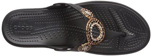 Crocs Dames Sanrah Diamante Flip W Sleehak Sandaal Zwart / Rosé Goud