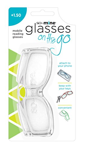 So-Mine Reading Glasses on the Go, 150 Magnification, Sits on Nose, Storage Case, Clear - As Seen On TV!