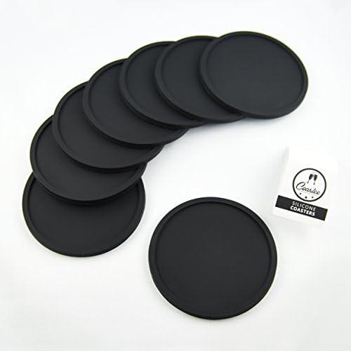 Coastee siliconen onderzetters8 stuks zwart glazen onderzetter set voor bar woonkamer keuken