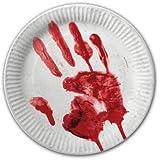 Pappteller blutige Hände Ø 23 cm 10 Stk.
