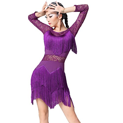 [Latin Dance Dress Tassel Women Tango Salsa Rumba Cha Cha Samba Tango Dance Performance Clothes Competition Costumes Party] (Swing Jive Costumes)