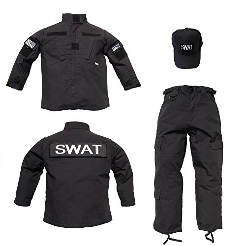 [Trooper Clothing Kids 3 pc Black Tactical SWAT Uniform With Patches Medium] (Swat Costumes Kid)
