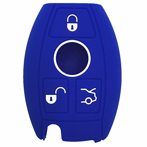 Ezzy Auto Blue Silicone Rubber Key Fob Case Key Cover Key Jacket Skin Protector fit for Mercedes-Benz C S M E SL SLK Class Key