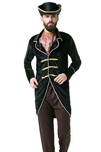 [Adult Men Lord Pirate Halloween Costume Buccaneer Captain Dress Up & Role Play (Standard)] (Spanish Themed Dress Up Ideas)