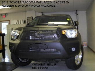 Lebra 2 piece Front End Cover Black - Car Mask Bra - Fits - Toyota Tacoma Tacoma with flares, without off road package & except X-Runner 2012-2014