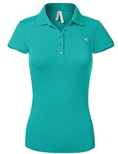Luna Flower Slim Fit Long Waist Short Sleeve Plain Polo Tee Shirts 102-Steal US L