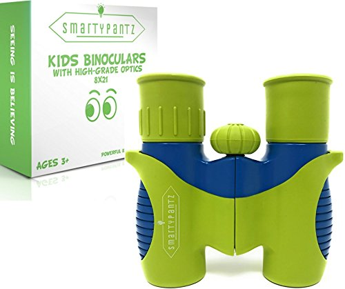 SmartyPantz Binoculars For Kids with Real Optics - 8x21 Magnification Shockproof & Compact - For Bird Watching, Learning, Hunting, Camping – Educational Toys For Boys & Girls – Great Gift For (Mission Roller Hockey Pants)