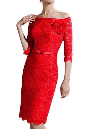 Damen Ivydressing Abendkleider Ausschnitt Knielang Rot Mit Spitze Brautjungfernkleid Aermeln U Ballkleider aPx6PCq