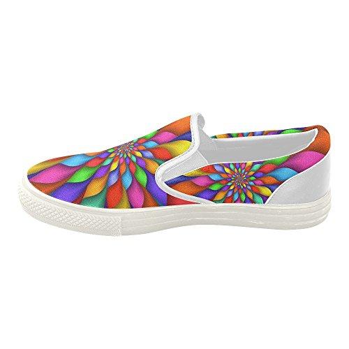 Artsadd Psykedelisk Rainbow Spiral Tilpasset Slip-on Canvas Sko For Kvinner Model019