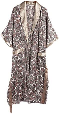 Men's Charmeuse Long Sleeve Light Weight Floral Printed Luxury Sleepwear