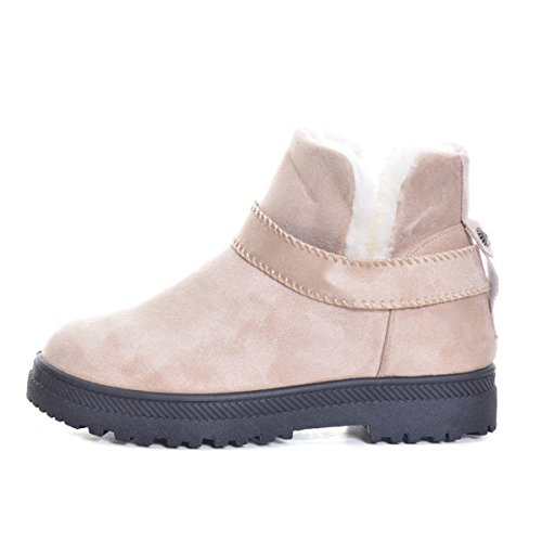 Dear Time Women Snow Boots Faux Shearling Buckle Straps Low Heel Ankle Booties