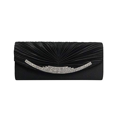 Borsa Da Per Sera A Di Forma clutch Lluffy Diamante Con Nero 5x5x11cm Donna Pochette 25 Pieghe Nuove Tracolla XgwgP6O