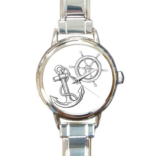 Christmas Day Gift Doodle Style Ships Anchor and Wheel Round Italian Charm stainless steel Watch by Cool Anchor Watch