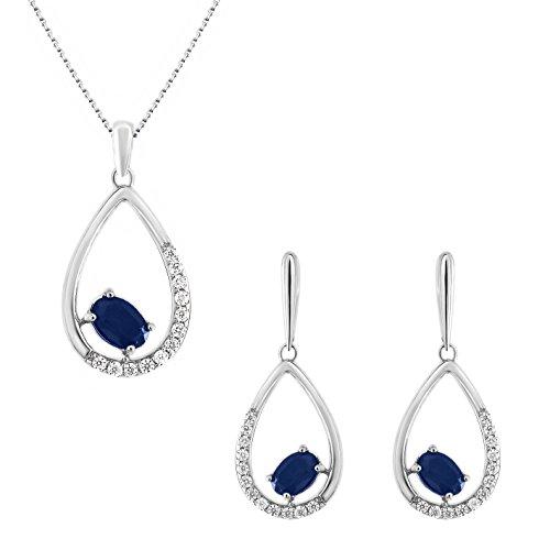 925 Sterling Silver 1.00 Ct. Blue Sapphire & White CZ Diamond Drop Dangle Earrings Pendant Jewelry Set