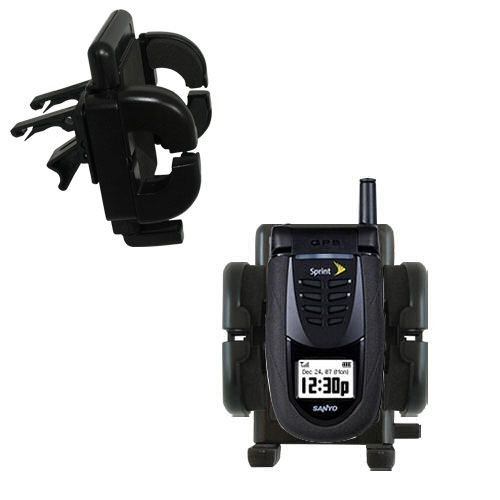 Innovative Vent Cradle Vehicle Mount designed for the Sanyo SCP-7050 - Adjustable Vent Clip Holder for Most Car / Auto Vent Systems