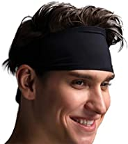 VIMOV Mens Headband - Sports Sweatband for Running, Cycling, Yoga, Basketball - Stretchy Moisture Wicking Hair