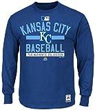 Majestic Kansas City Royals MLB Mens Long Sleeve Color Block Shirt Royal Blue Big Sizes (3XL)