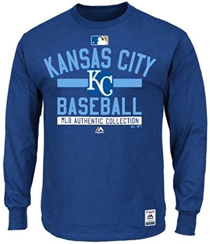 (Majestic Kansas City Royals MLB Mens Long Sleeve Color Block Shirt Royal Blue Big Sizes (4XL))