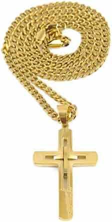 e39a5ede856c4c Riveting Jewelry 18K Gold Cross Chain Necklace Pendant for Men, Women.  Miami Cuban Link