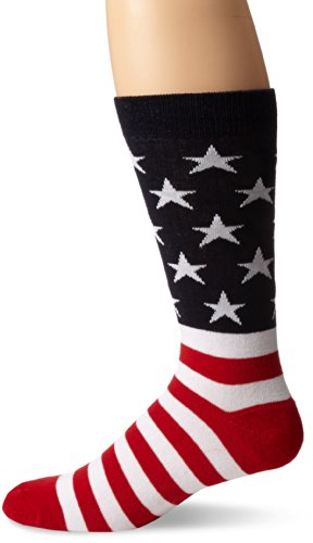 K. Bell Socks Men's American Flag Crew Sock, Red/White/Blue, 10-13