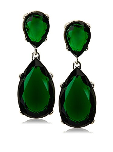 Kenneth Jay Lane Green Teardrop Crystal Rhodium Erarrings