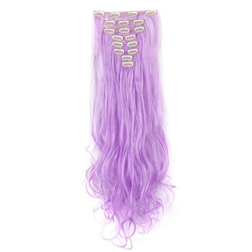 LHFLIVE Womens 18 Clips 8pcs Full Head Hair Extensions 24 Inch Long Curly Light Purple Hairpiece -