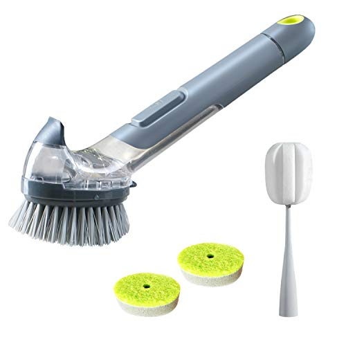 JEHONN Dish Brush with Soap Dispenser Pot Scrubber Kitchen Sink Pan Brush with a Bottle Brush and 2 Sponge Refill