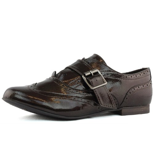Womens Breckelles Sharon-84 Patent Oxford Brown