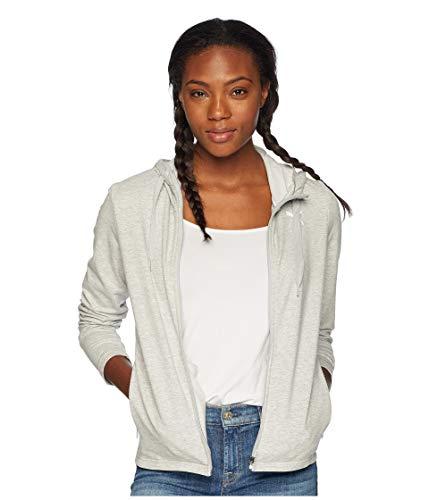 (PUMA Women's Modern Sport Full Zip Logo Hoodie Light Grey Heather Large)