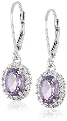 Oval Amethyst Halo Leverback Earrings