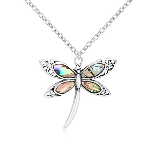 Silver Paua Shell Necklace - PANGRUI Personalized Antique Silver Nature Abalone Paua Shell Dragonfly Insect Pendant Necklace for Women (Antique Silver)