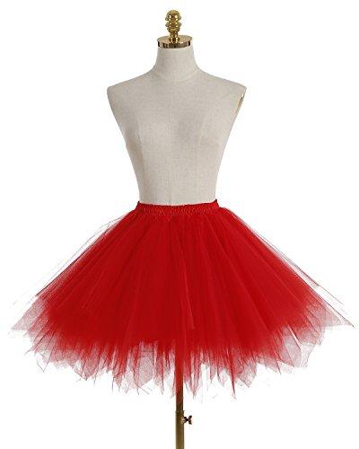 Ballerina Cosplay Tutu Vintage Donna Bridesmay Partito Red Breve Sottogonne Gonna wHTvxc4Rq