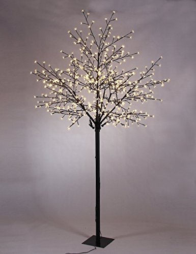 Akari Tall Cherry Blossom City Tree with 600 Micro LED Bulbs, Warm White, 8'' H (Cherry Blossoms Light Pink)