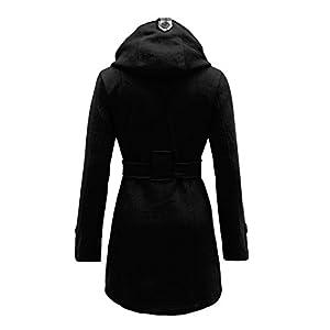Envy Boutique Women's Belted Button Coat Hood Jacket Top Black 10