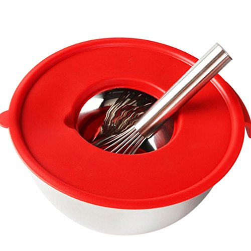 Iusun Home Egg Mixing Bowl Egg Cylinder Whisks Screen Cover Splash Guard Tool Splash-proof Cover (Red,20CM) (Guard Splash Refrigerator)