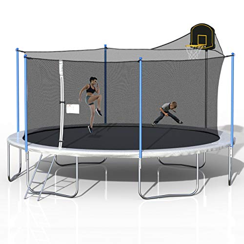 Merax 16 FT Trampoline with Enclosure Net, Circular Trampolines Outdoor Parkside for Adults/Kids, Family Jumping and Ladder (Dark Blue: 16FT w/Basketball Hoop)