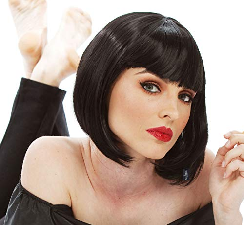 Short Black Bob Wig with Bangs Mia Wallace Costume 1920s Flapper Wigs for Women ()