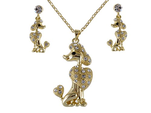 Alilang Golden Tone Poodle Show Dog Swarovski Clr Crystal Rhinestone Earring Necklace Set (Crystal Necklace Swarovski Dog)
