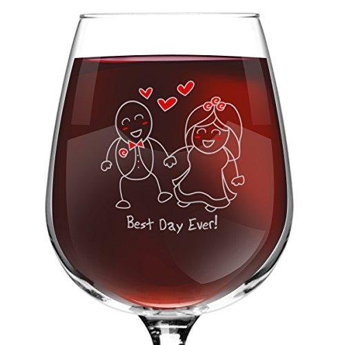 Best Wine For Wedding Gift: Best Day Ever! Wedding Wine Glass- 12.75 Oz.