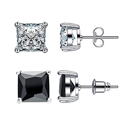 Jewelry Women's Stainless Steel Round Clear Cubic Zirconia Diamond Rhinestone Stud Earring (6 Pairs) Color Silver