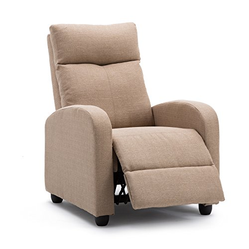 Recliner Chair Modern Soft Fabric Living Room Home Theater Single Chaise Couch Sofa Seat Tan