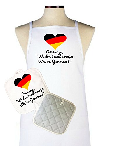 Oma Says We Don't Need A Recipe, We're German! Apron and potholder set, German Moms, Grandmas, Grandmother, Mothers Day, Birthday, Gift, Present, cooks, chefs, bakers