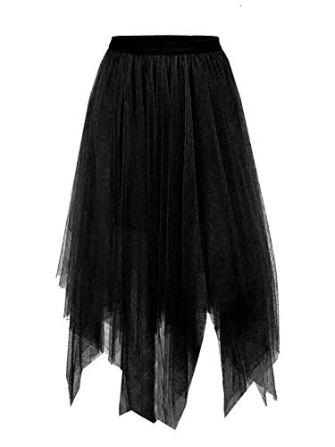 Joeoy Women's Black Layered Asymmetrical Mesh Tutu Tulle Skirt Prom Party Skirt-XL