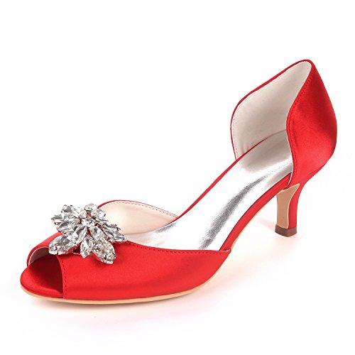 Flower Ager Piedras Peep De Shoes Sandalias Court Satén Wedding De Medio Talones 03K Imitación Toe Bombas EU37 Mujeres Red UK4 Party Y1195 Diamantes rrvIFx0d