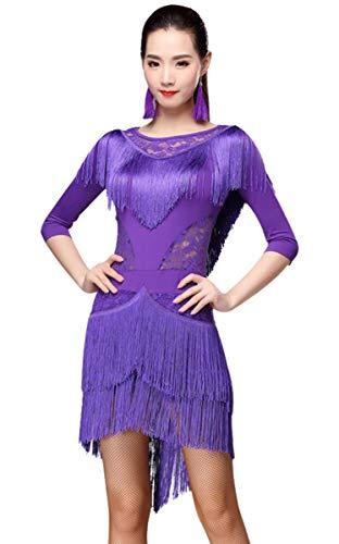 ZX Women Fringed Latin Costume Lace Neck Tango Rumba Latin Dance Dress Performance (Tag M, Purple) -