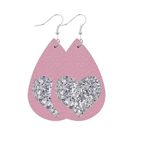 aihihe Women Girls Valentine's Day Leather Earrings Gift Pink Heart Print Drop Earrings Jewelry Accessory Handmade