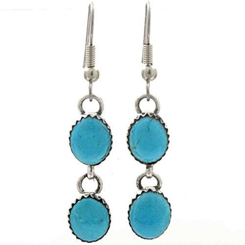 Sleeping Beauty Turquoise Drop Earrings Navajo French Hook Dangles