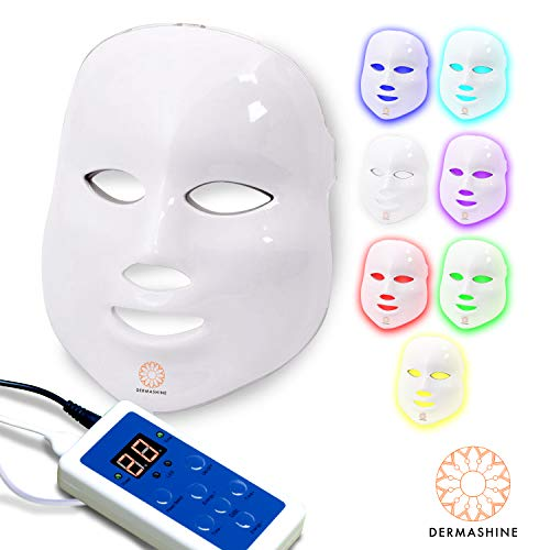 Dermashine Pro 7 Color LED Face Mask | Photon Red Light Therapy For Healthy Skin Rejuvenation | Collagen, Anti Aging, Wrinkles, Scarring | Korean Skin Care, Facial Skin Care Mask -
