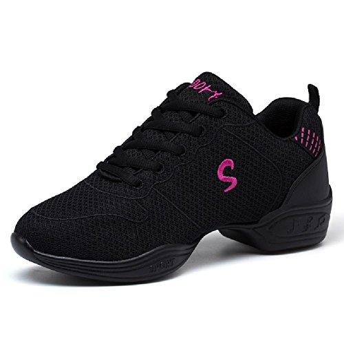 D2c Beauty Mesh Mesh Ademende Lace-up Dance Sneakers Zwart