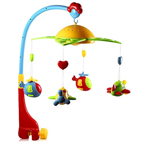360 Degrees Rotating Baby Rattles Baby Musical Star Projector Hanging Bell Crib Rattle Toy Music Light Flash Bed Ring